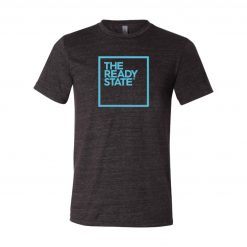 Men's Charcoal/Sky Blue Square Logo T-Shirt