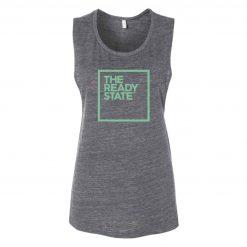 Women's Grey/Electric Green Square Logo Muscle Tank