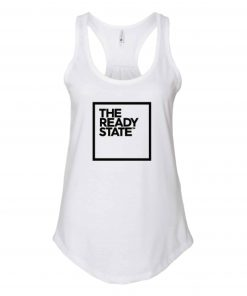 Women's White/Black Square Logo Gathered Racerback Tank