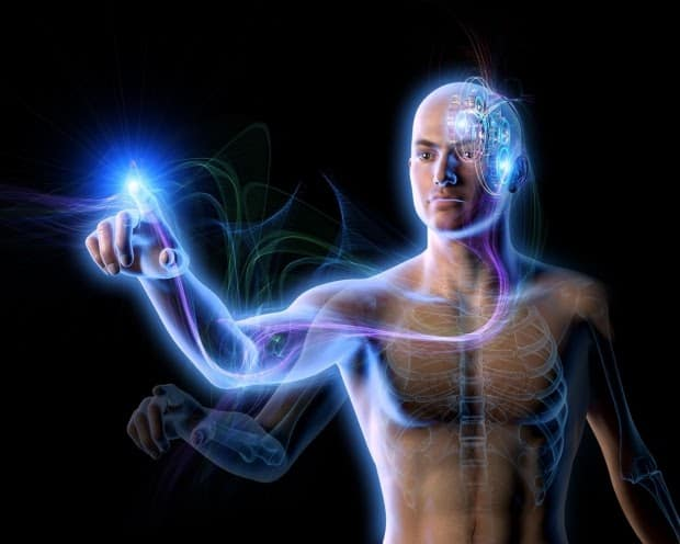 Picture of a man with his brain and nerves lit up with bright lights leading to his fingertip to illustrate the importance of connecting the brain to the muscles in Post-Op Recovery.