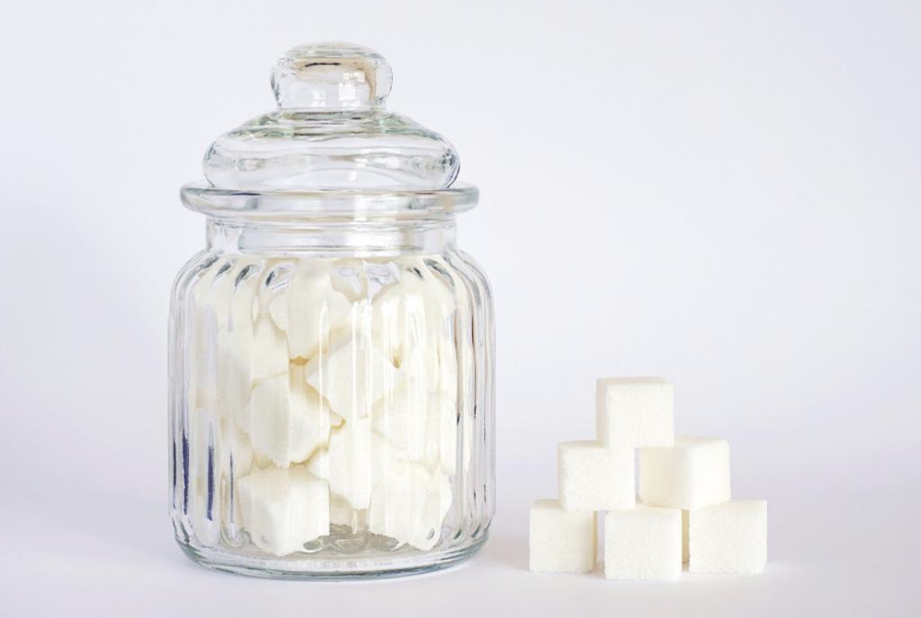 Jar of sugar cubes to highlight popular elimination diets