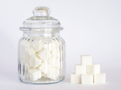 Jar of sugar cubes to highlight popular elimination diets