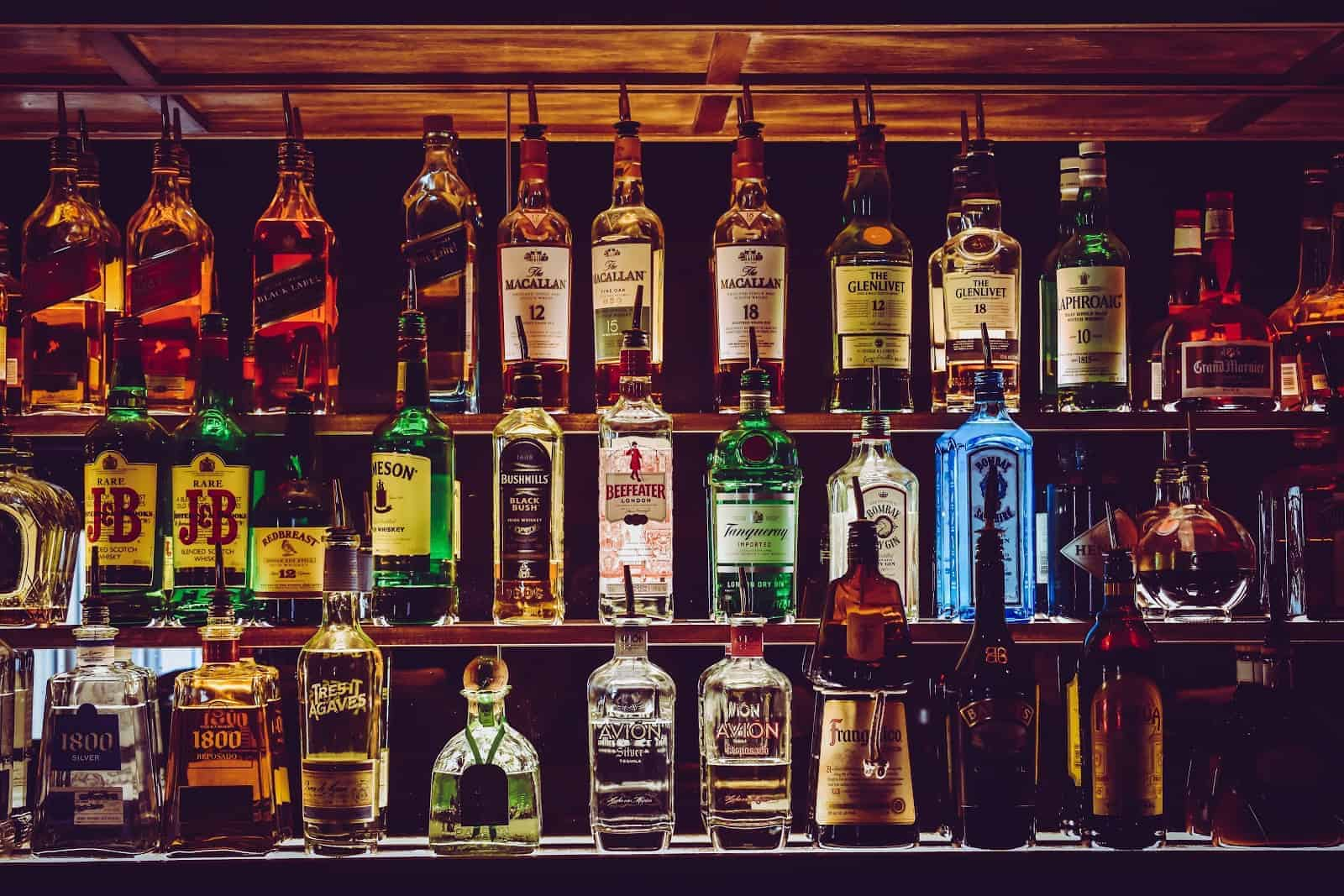 Wall of alcohol bottles