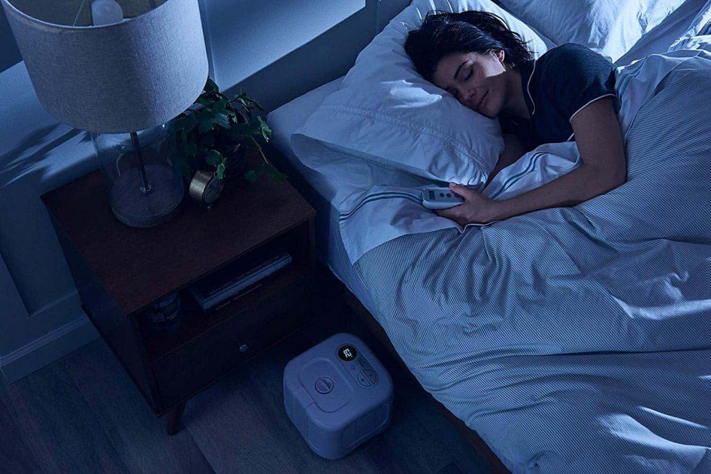 Woman sleeping with a chiliPad