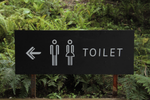 Toilet sign to depict the effects of too much caffeine